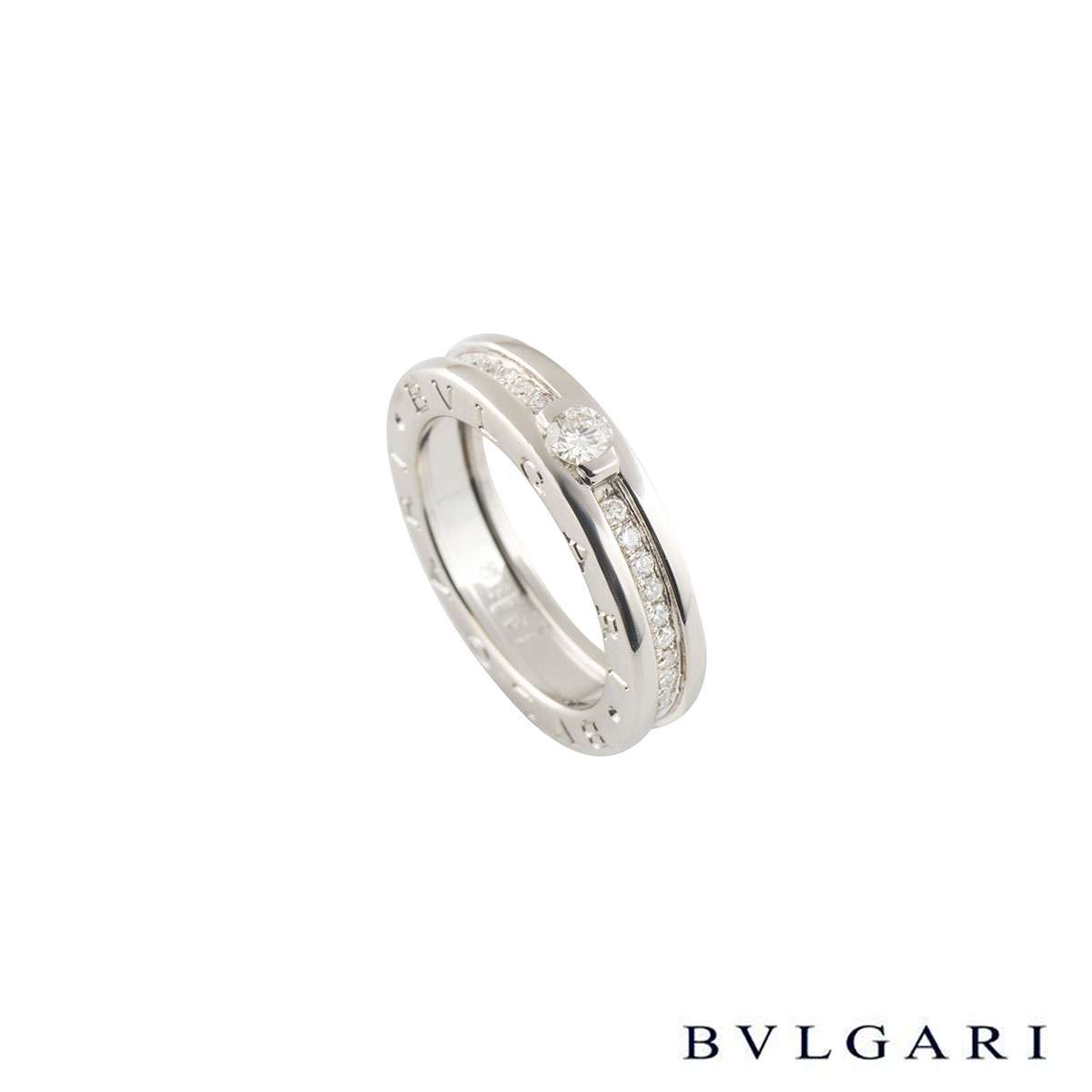 Bvlgari White Gold Diamond B.Zero1 Ring Size 50 AN852397